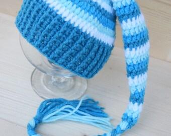 Crochet Elf hat, Elfin Newborn Baby Hat, Striped Elf hat with tassel, Baby Boy Hat, Gnome hat, newborn photo prop