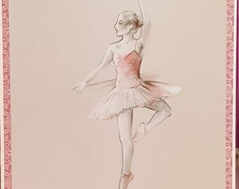 Handmade ballet dancer card