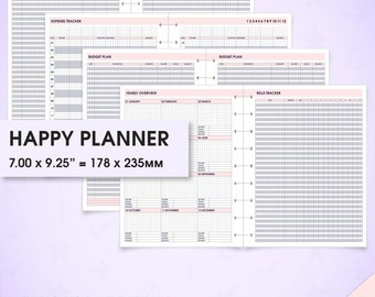 Budget & finance happy planner printable inserts (finance inserts, budget inserts, bill tracker, savings tracker, expense tracker, debt)