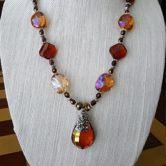 Handmade beaded amber necklace with fancy clasp