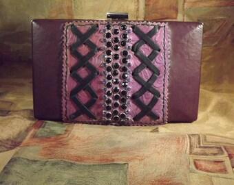 Handmade ladies chartreuse/purple lambskin leather hard case box clutch style wallet