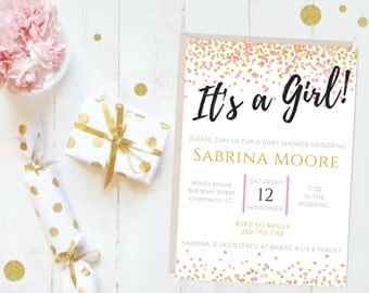 It's A Girl Printable Baby Shower Invitation, Girl Baby Shower Invitation, Pink and Gold Confetti Baby Shower Invitation, Custom Baby Invite