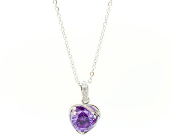 Heart Shape Gemstone Pendant with Rolo Sterling Silver Necklace with Gift Box