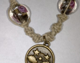 Hemp Choker with Glass Beads and Metal Pendant