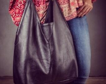 Jaipur - Leather Hobo Bag - Black