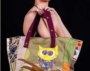 Bag with OWL finished buttonhole stitch