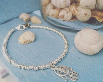 925 Silver charm bracelet 925 Silver Hamsa, Nuggets Washers