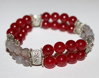 Beaded Bracelet for woman,red bead bracelet,coral bracelet,red bracelet,bracelet for woman,Gemstone bracelet,silver bracelet,calm bracelet