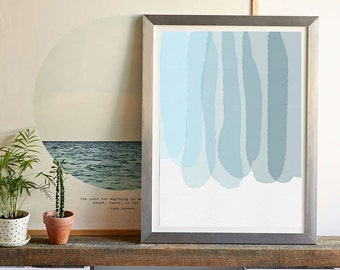Into The Blue Modern Watercolor Art Print, Living Room Fine Art Print, Vertical Modern Art