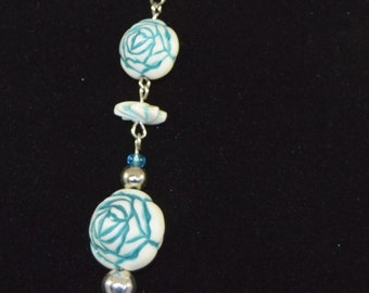 Blue Flower Necklace and Earring set