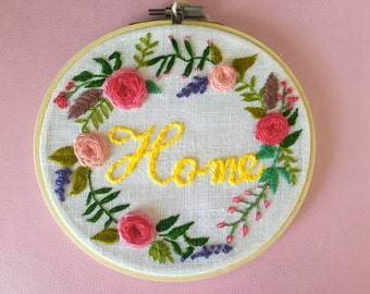 floral wreath handmade embroidery. rose embroidery 6 Inch hoop art. wall decor.