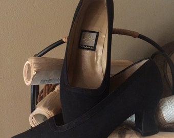 Vintage Formal Black Satin Pumps with 2 inch Chunky Heel by Nina
