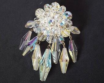 1950's Colourful AB Aurora Borealis Crystal Stone Waterfall Brooch. Wedding, Bride, Bridesmaid