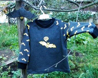 Hand painted Halloween Bat sweatshirt, unique childrens clothing, organic cotton, boo shirt, black yellow, not scary halloween, bat costume
