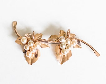 Vintage leaf and branch faux pearls brooch / Bronze Toned Pin