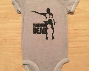 Walking Dead Screen Print Baby Bodysuit//Hand Dyed//Baby Shower Gift//Gender Neutral//Zombie Baby