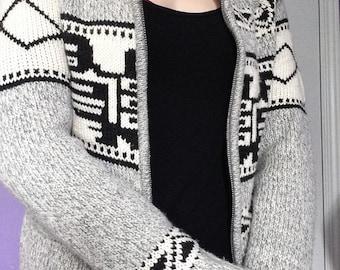 warm cozy grey white and black sweater
