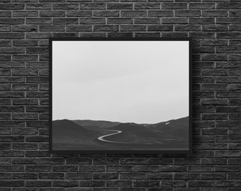 Hills Photo - Road Photo - Road Trip - Way - Hilly Landscape - Landscape Photo - Black and White - Wall Art - Wall Decor - Office Wall Art