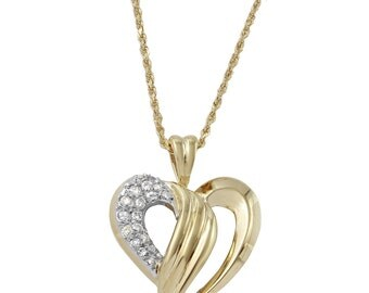 Diamond Heart Pendant Necklace in 14k Yellow Gold (19 Inches)