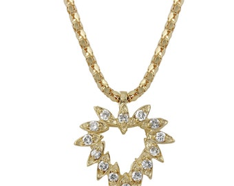 Diamond Heart Pendant Necklace in 14k Yellow Gold (17 Inches)