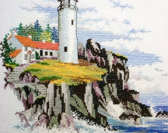 Completed Cross Stitch of Lighthouse, Completed Cross Stitch embroidery, Finished Cross Stitch Sea coast, Sea theme