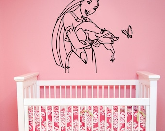 Pocahontas Wall Sticker Vinyl Decal Disney Princess Art Decorations for Home Teen Kids Girls Baby Room Playroom Bedroom Decor pocs2