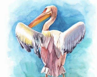 "Watercolor Print  ""Pelican 1""  Bird Art, Bird Print, Wall Decor, Bird Nursery print"