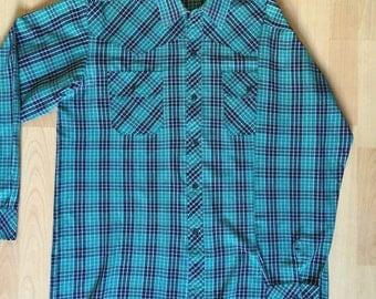 Western Shirt Green & Blue