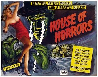 House of Horrors Movie Poster Art - Vintage Horror Print Art - Home Decor