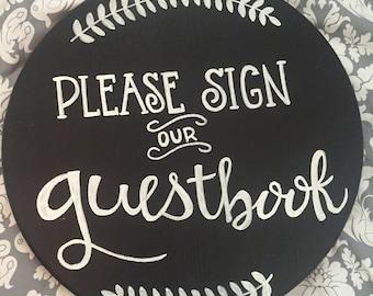Handmade 'Guestbook' Round Chalkboard