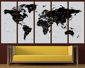 World Map Canvas Print World Map Wall Art Set World Map Print World Map Poster Wall Art Canvas Extra Large World Map Wall Decor Art Canvas