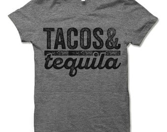 Tacos & Tequila Shirt. Funny Mexican Vacation Tee Shirt.