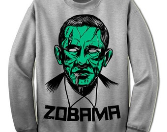 Zombie Obama Halloween Sweatshirt. Funny Obama Sweatshirt. Halloween Gift. Zobama Shirt.