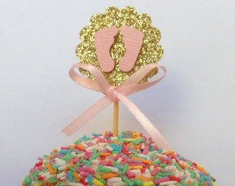 Cupcake Topper/Cupcake Pokes. Baby Feet. It's a Girl. Baby Pink. Pack of Twelve. Baby Shower.