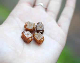 Carved Jade Beads / Flower Beads / Antique Jade / Brown Jade Beads / GEM007