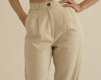 High Waisted Pants /Timeless Linen Trousers / Linen Pants / Summer Pants / Vintage Pants / Vintage Trousers / Pleated Pants