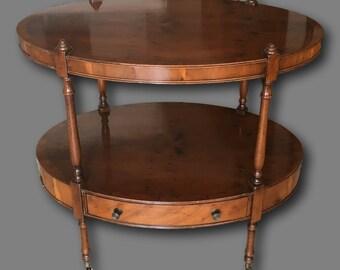 1910s Art Deco Oval Two Tier Table Acajou