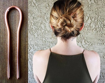Large Copper Hair Pin, Copper Hair Fork, Large Metal Hair Pin, Bun Holder, Handmade Copper Hair Pick