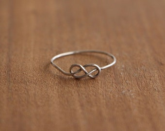 Silver Infinity Knot Ultra Thin Ring, Handmade Infinity Knot Ring, Sterling Silver Stacker Ring, Thin Dainty Silver Jewelry