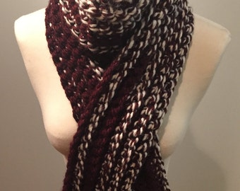 Hand-Crocheted Maroon and White Scarf