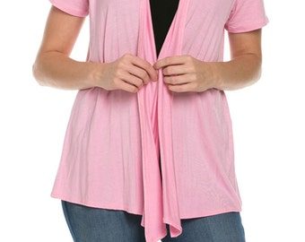 Short Sleeve Open Front Vest Pink