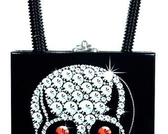 Constance Silver Skull with Ruby Eyes