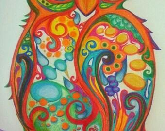 Orange Owl Print