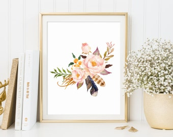 Floral Print floral wall art  Flower Print Floral Print Gallery Wall Prints  Rustic Decor watercolor flowers Dorm Decor Nursery Decor boho