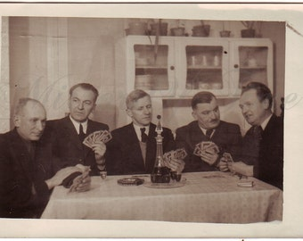 Vintage Photo - Men photo - Men playing cards - Playing cards - Men in suit - Vintage Snapshot - Polish Photo - 1950s photo -Vintage kitchen