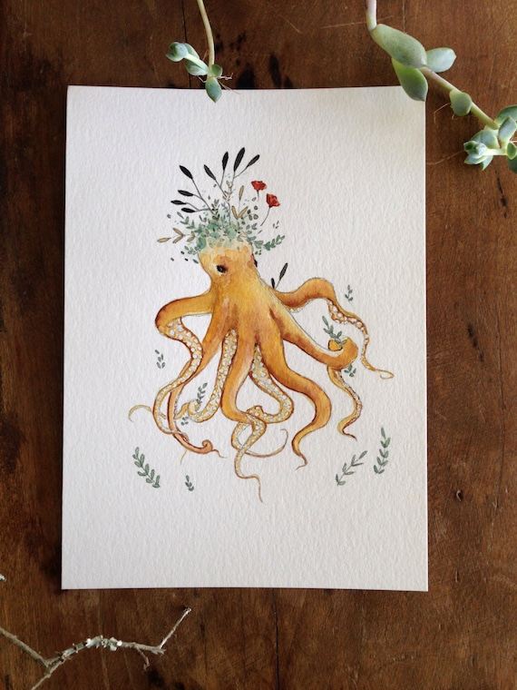 Prudence Octopus - 5x7 original watercolor illustration