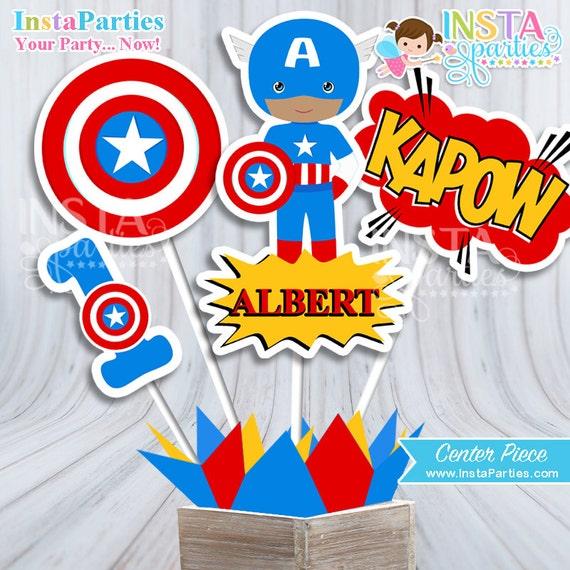 Centro De Mesa Capitán America Centro Mesa Superhéroes Niño