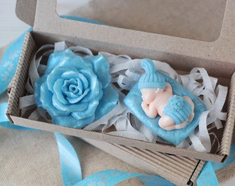 Handmade Soap Set - Rose and Child, Christening Gifts, Baby Hampers, Pregnancy Announcement, Newborn Gift