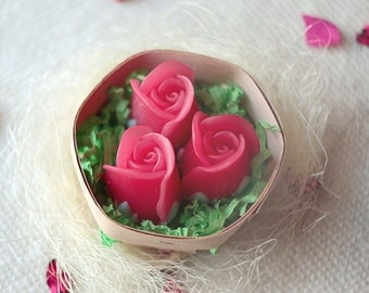 Handmade Soap Set Of 3 Red Roses, Gift For Girlfriend, Gift For Grandmother, Gift Under 5 Dollars, Present For Her, Artificial Flowers