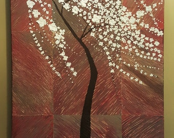 Original Acrylic Palette Knife Painting of Cherry Blossom Tree